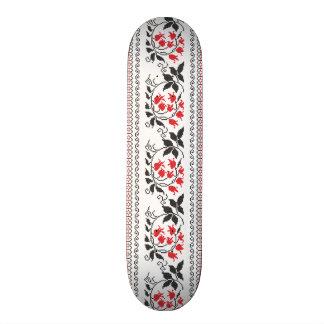 Red tulips pattern skateboard