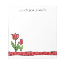 Red Tulips Personalized 5.5 x 6 Notepad