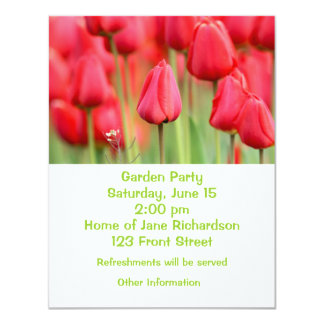 "Red Tulips Photo 4.25"" X 5.5"" Invitation Card"