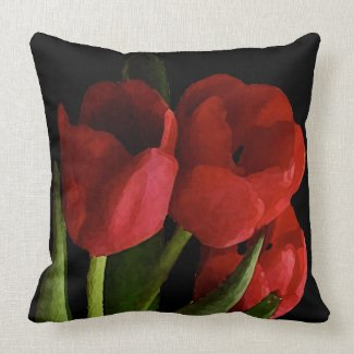 Red Tulips Pillow