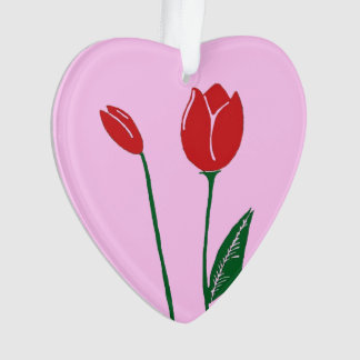 Red Tulips Pink Heart Ornament