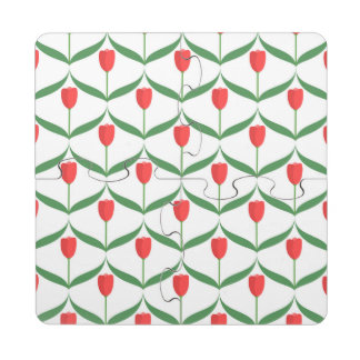Red Tulips Puzzle Coaster