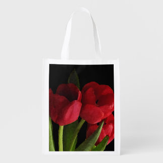 Red Tulips Reusable Grocery Bag