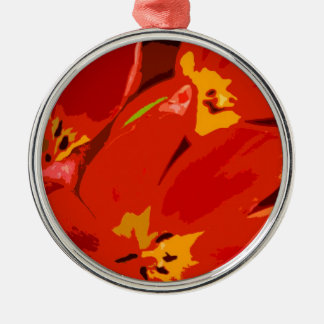 RED TULIPS ROUND METAL CHRISTMAS ORNAMENT