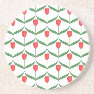 Red Tulips Sandstone Coaster