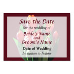 """Red Tulips Save the Date 5"""" X 7"""" Invitation Card"""