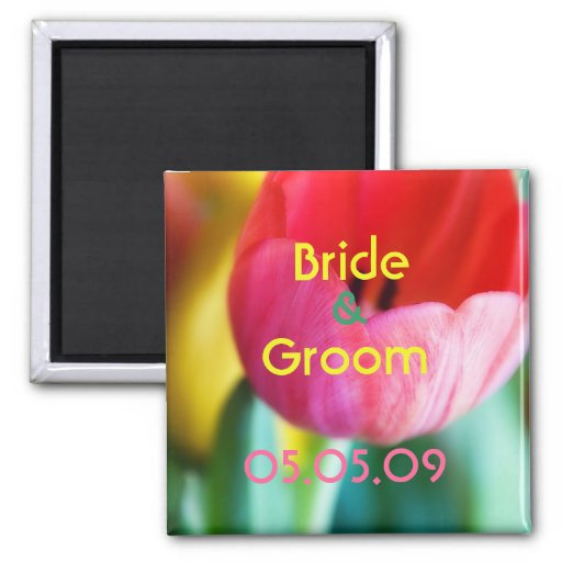 Red Tulips • Save the Date Magnet - Customized