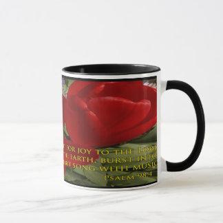 red tulips shout - psalm 98:4 mug