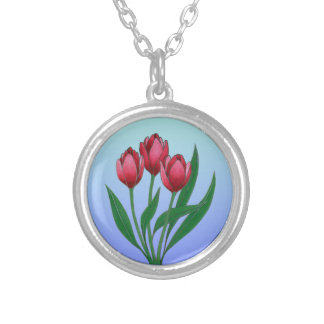 Red Tulips Silver Plated Necklace