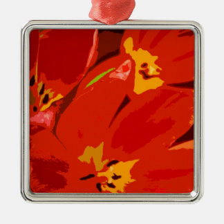 RED TULIPS SQUARE METAL CHRISTMAS ORNAMENT