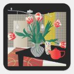 Red Tulips Square Sticker