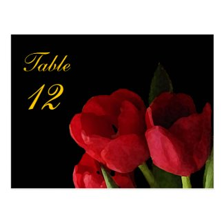 Red Tulips Table Number Postcard