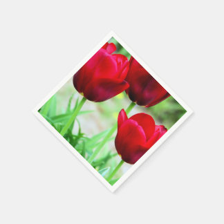 Red Tulips Disposable Napkin