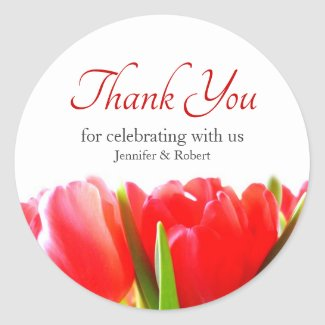 Red Tulips Thank You Classic Round Sticker