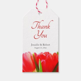 Red Tulips Thank You Gift Tag