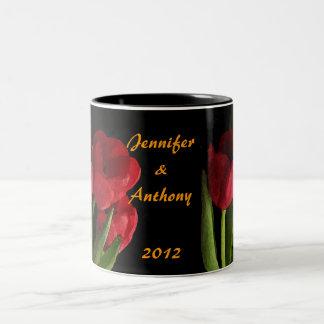 Red Tulips Two-Tone Coffee Mug