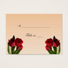 Red Tulips Wedding Escort Card at Zazzle