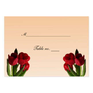 Red Tulips Wedding Escort Card Large Business Cards (Pack Of 100)