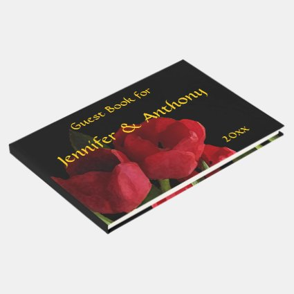 Red Tulips Wedding Guest Book