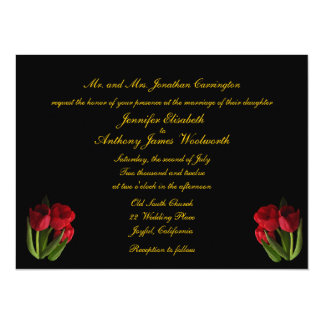 Red Tulips Wedding Personalized Announcements