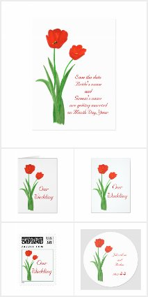 Red Tulips Wedding Invitation Set