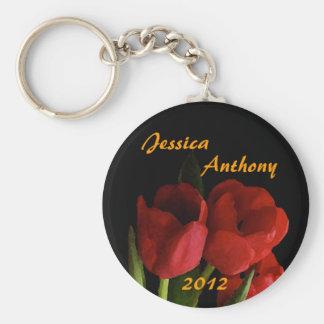 Red Tulips Wedding Keychain