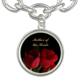 Red Tulips Wedding Mother of the Bride Charm Bracelets