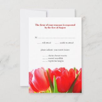 Red Tulips Wedding Response Card