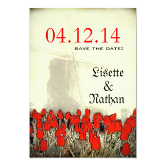 Red Tulips & Windmill Vignette Save the Date Card