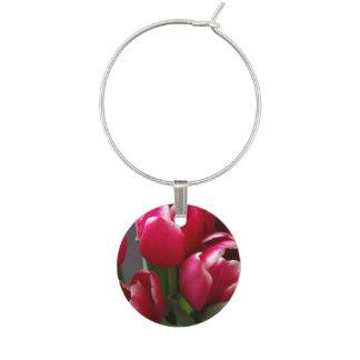 Red Tulips Wine Charm
