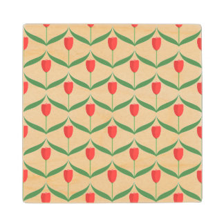 Red Tulips Wooden Coaster