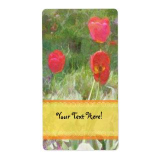 Red Tulips Yellow-Orange Ribbon Label