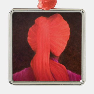 Red Turban in Shadow Metal Ornament