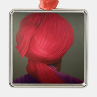 Red Turban Purple Coat Metal Ornament