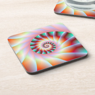 Red Turquoise and Pink Spiral Steps Coasters