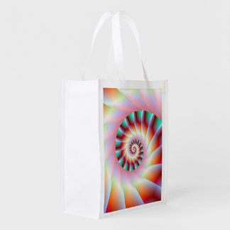 Red Turquoise and Pink Spiral Steps Grocery Bag