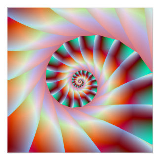 Red Turquoise and Pink Spiral Steps Perfect Poster