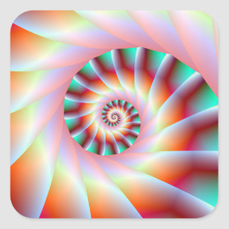 Red Turquoise and Pink Spiral Steps Sticker