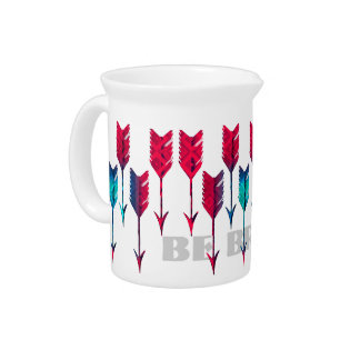 Red Turquoise Arrows Tribal Boho Feather Bohemian Beverage Pitcher