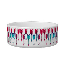 Red Turquoise Arrows Tribal Boho Feather Bohemian Bowl