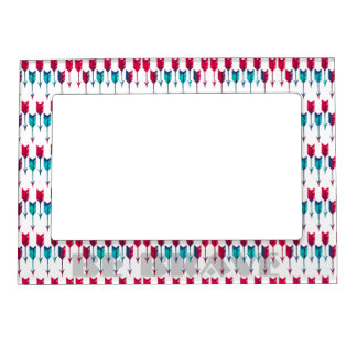 Red Turquoise Arrows Tribal Boho Feather Bohemian Magnetic Frame