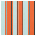 [ Thumbnail: Red, Turquoise & Black Lined Pattern Fabric ]