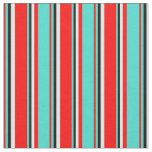 [ Thumbnail: Red, Turquoise, Black & White Colored Pattern Fabric ]