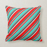[ Thumbnail: Red, Turquoise, Black & White Colored Pattern Throw Pillow ]