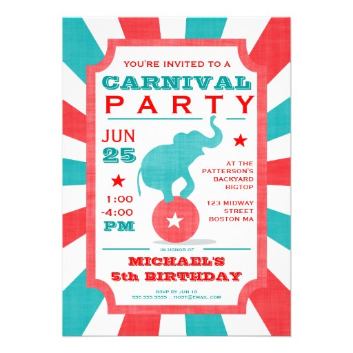 Personalized Carnival Birthday Party Invitations