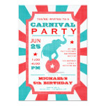 Red | Turquoise Carnival Party Big Top Birthday Personalized Announcement