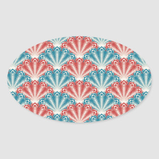 Red Turquoise Clam shell Retro Design Oval Sticker