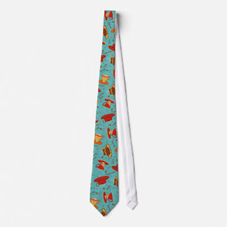 Red & Turquoise Coffee Cup Pattern Man's Neck Tie