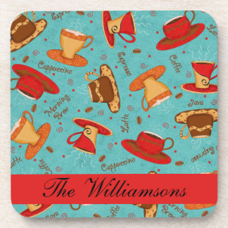 Red & Turquoise Coffee Cup Pattern Personalized Drink Coaster