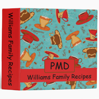 Red Turquoise Coffee Cup Pattern Recipe Album Binder
